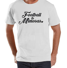Men's Funny Shirt - Football & Mimosas - Mens Football Shirts - White Shirt - Gift for Him - Drinking Gift Idea for Boyfriend or Dad