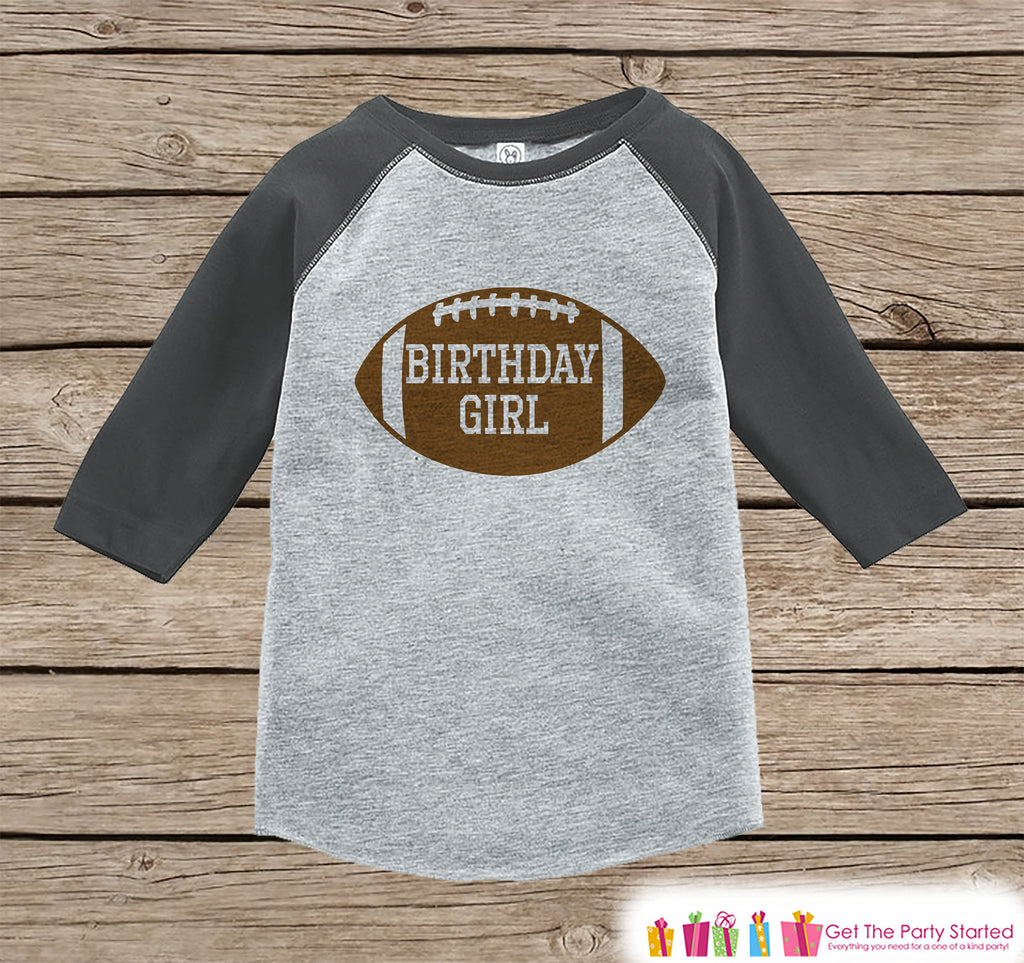 Girls Birthday Outfit - Football Birthday Girl Shirt or Onepiece - Birthday Girl Football Outfit - Grey Baseball Tee - Kids Raglan Shirt