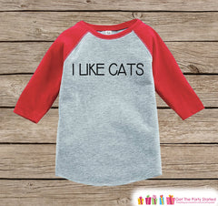 Kids Cat Shirt - I Like Cats - Boy or Girl Onepiece or T-shirt - Funny Cat Lover Shirt - Kids, Toddler, Youth Red Raglan Gift Idea