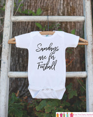 Kids Football Shirts - Football Sunday - Sundays Are For Football Onepiece or Tshirt - Boy or Girl Shirt - Great Gift Idea for Kids - Script