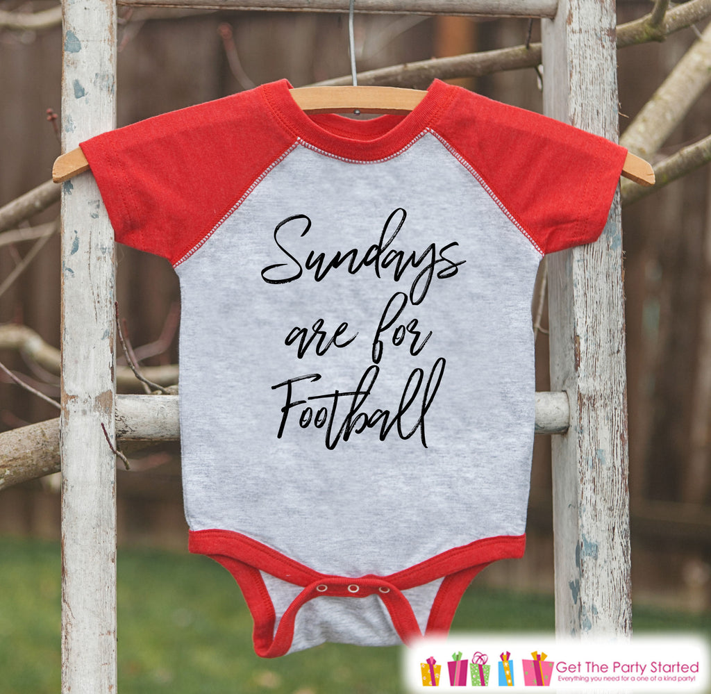 Kids Football Shirt - Sundays Are For Football - Boys or Girls Onepiece or Tshirt - Football Sunday Shirt - Baby, Toddler, Youth Red Raglan