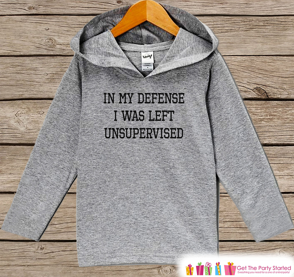 Funny Kids Shirt - I Was Left Unsupervised Hoodie - Boys or Girls Shirt - Grey Pullover - Gift Idea for Baby, Infant, Kids, Toddler - Sporty