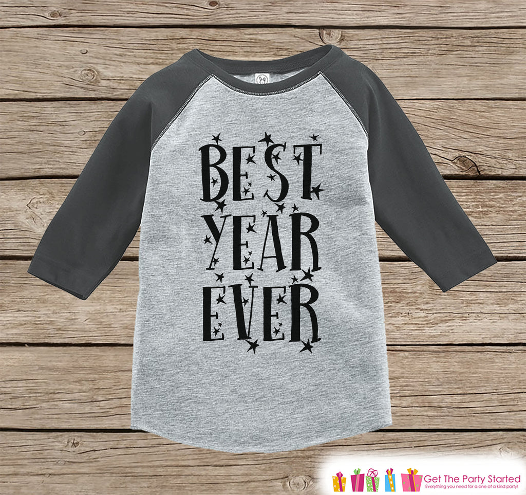 Kids New Year Shirts - Best Year Ever - Happy New Years Eve Outfit - New Years Eve Onepiece or Shirt - Infant, Toddler Grey Baseball Tee