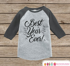 Kids New Year Shirts - Best Year Ever - Happy New Years Eve - New Years Eve Onepiece or Shirt - Infant, Toddler Grey Baseball Tee - Script