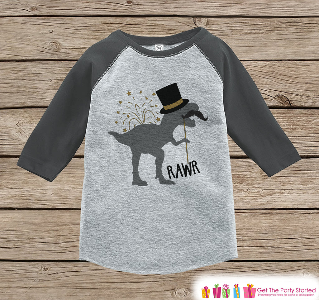 Kids New Years Shirt - Funny New Years Eve Dinosaur - Grey Raglan Tshirt or Onepiece - Funny New Years Dino - Kids New Year Dinosaur T-shirt