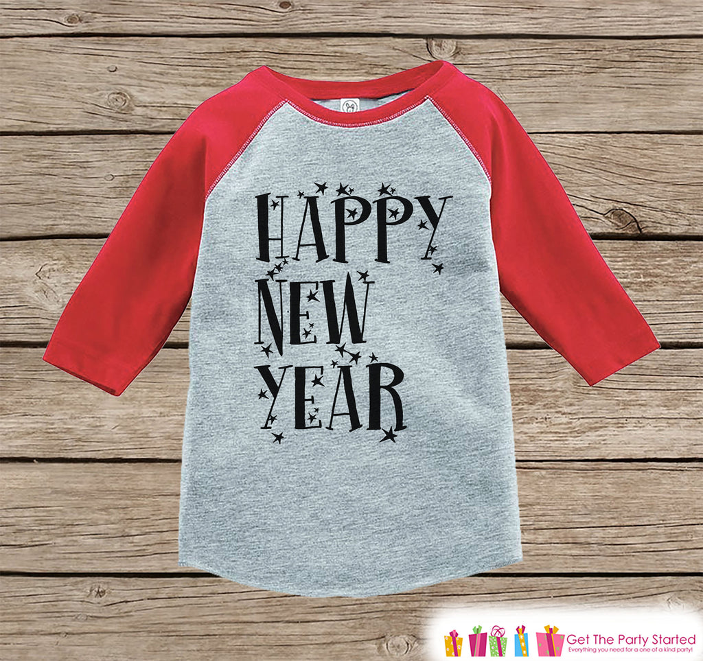 Kids New Year Shirts - Happy New Year - New Years Eve - Boy or Girls Onepiece or Shirt - Infant, Toddler Red Baseball Tee - Stars