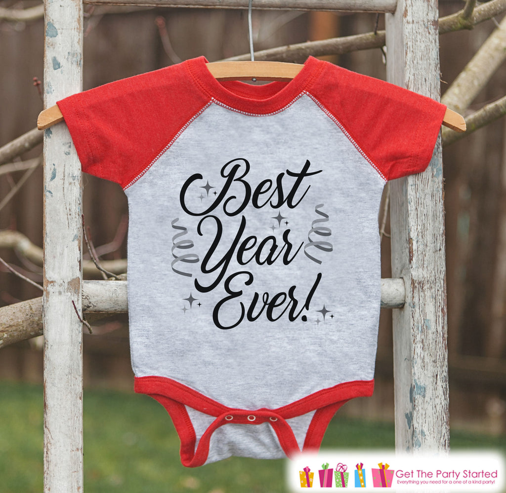 Kids New Year Shirts - Happy New Year - New Years Eve - Boy or Girls Onepiece or Shirt - Infant, Toddler Red Baseball Tee - Script