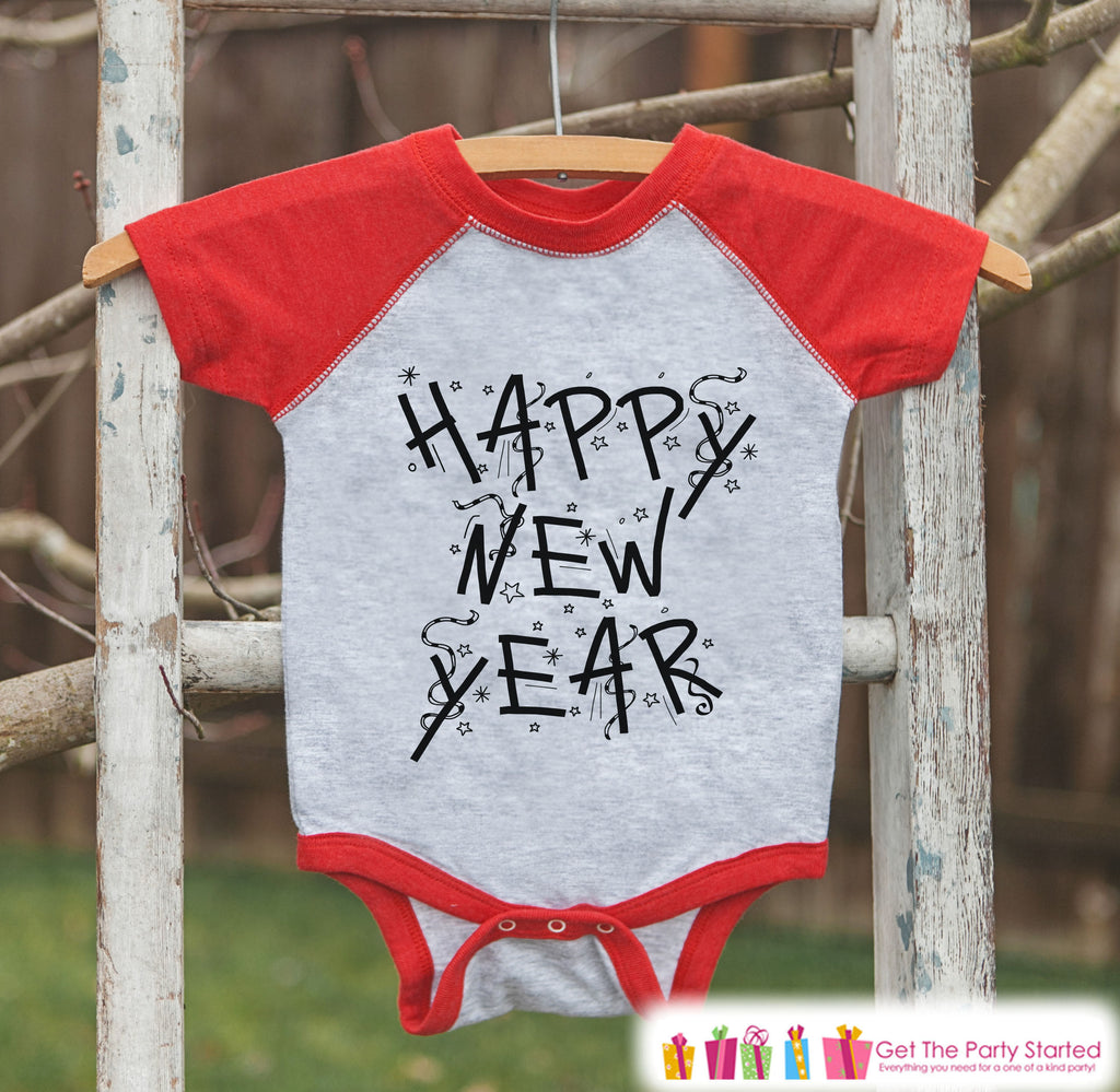 Kids New Year Shirts - Happy New Year - New Years Eve - Boy or Girls Onepiece or Shirt - Infant, Toddler Red Baseball Tee - Confetti