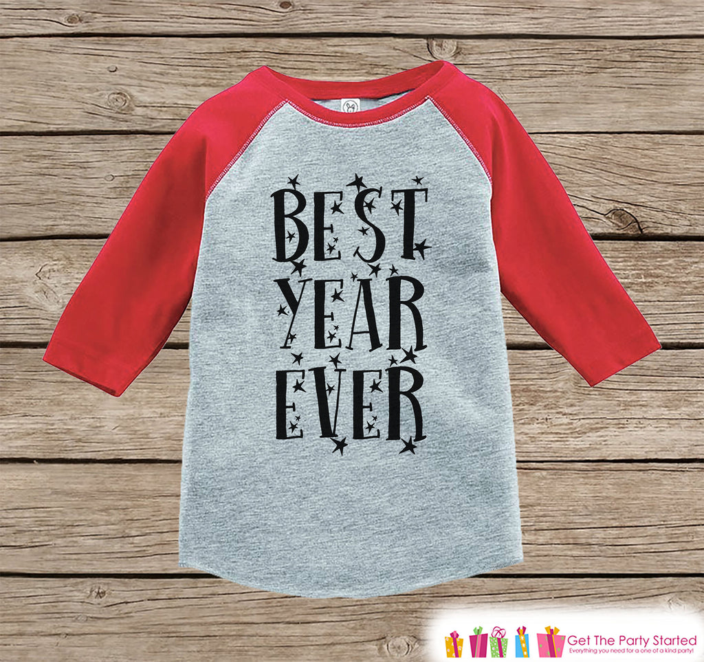 Kids New Year Shirts - Best Year Ever - Happy New Years Eve Outfit - New Years Eve Onepiece or Shirt - Infant, Toddler Red Baseball Tee