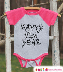 Girls New Year Shirts - Happy New Year - New Years Eve - Baby Girls Onepiece or Shirt - Infant, Toddler Pink Baseball Tee - Confetti