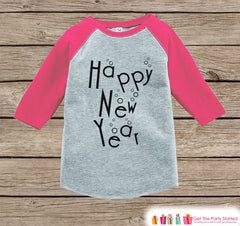 Girls New Year Shirts - Happy New Year - New Years Eve - Onepiece or Shirt - Infant, Toddler Pink Baseball Tee - Champagne Bubbles