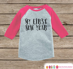 Girls New Year Shirts - My First New Year - Happy New Years Eve Outfit - New Years Eve Onepiece or Shirt - Infant, Baby Pink Baseball Tee