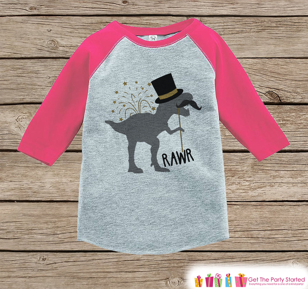 Girls New Years Shirt - Funny New Years Eve Dinosaur - Pink Raglan Shirt or Onepiece - Funny New Years Dino - Kids New Year Dinosaur T-shirt