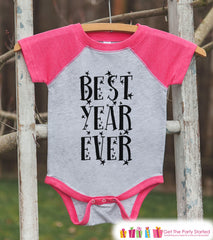 Girls New Year Shirts - Best Year Ever - Happy New Years Eve Outfit - New Years Eve Onepiece or Shirt - Infant, Toddler Pink Baseball Tee