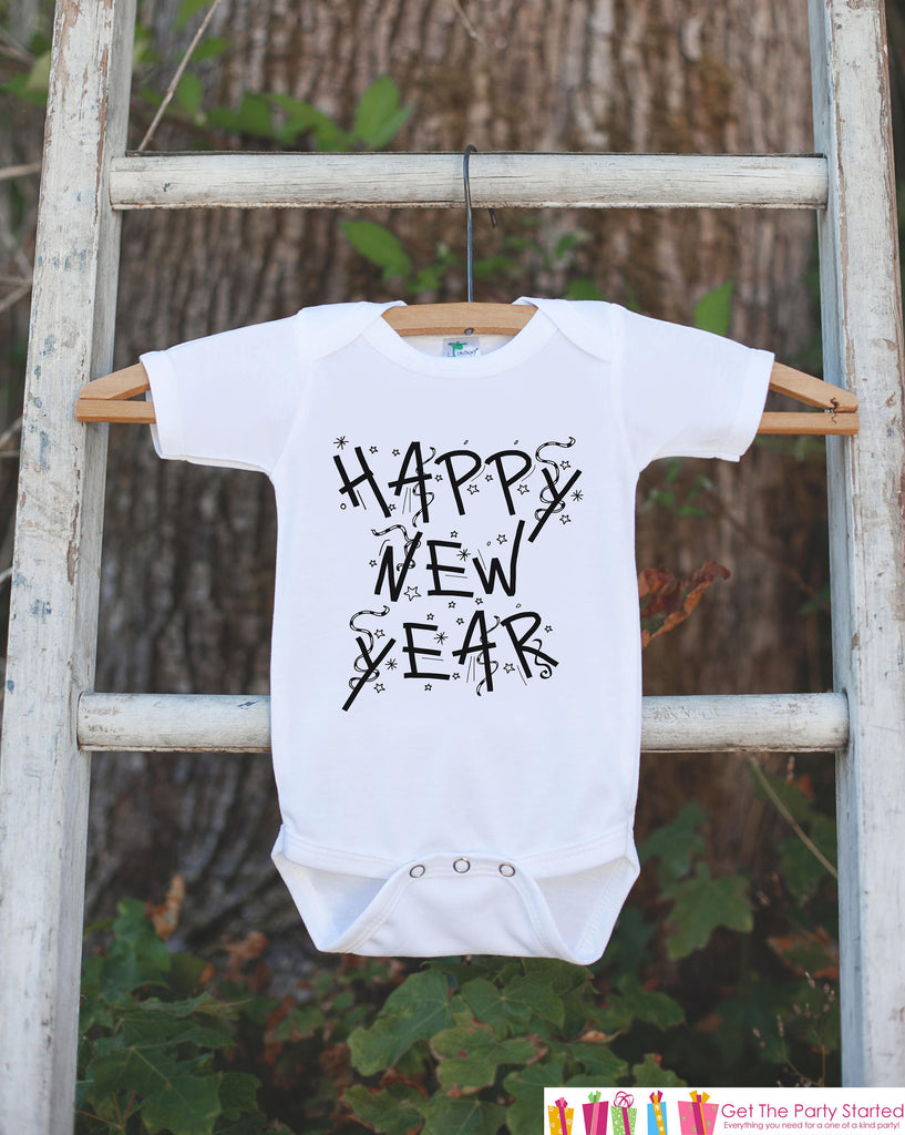 Kids New Year Outfit - Happy New Year - Boy or Girl's New Years Eve Onepiece or T-shirt - Happy New Years - Baby, Toddler, Youth - Confetti