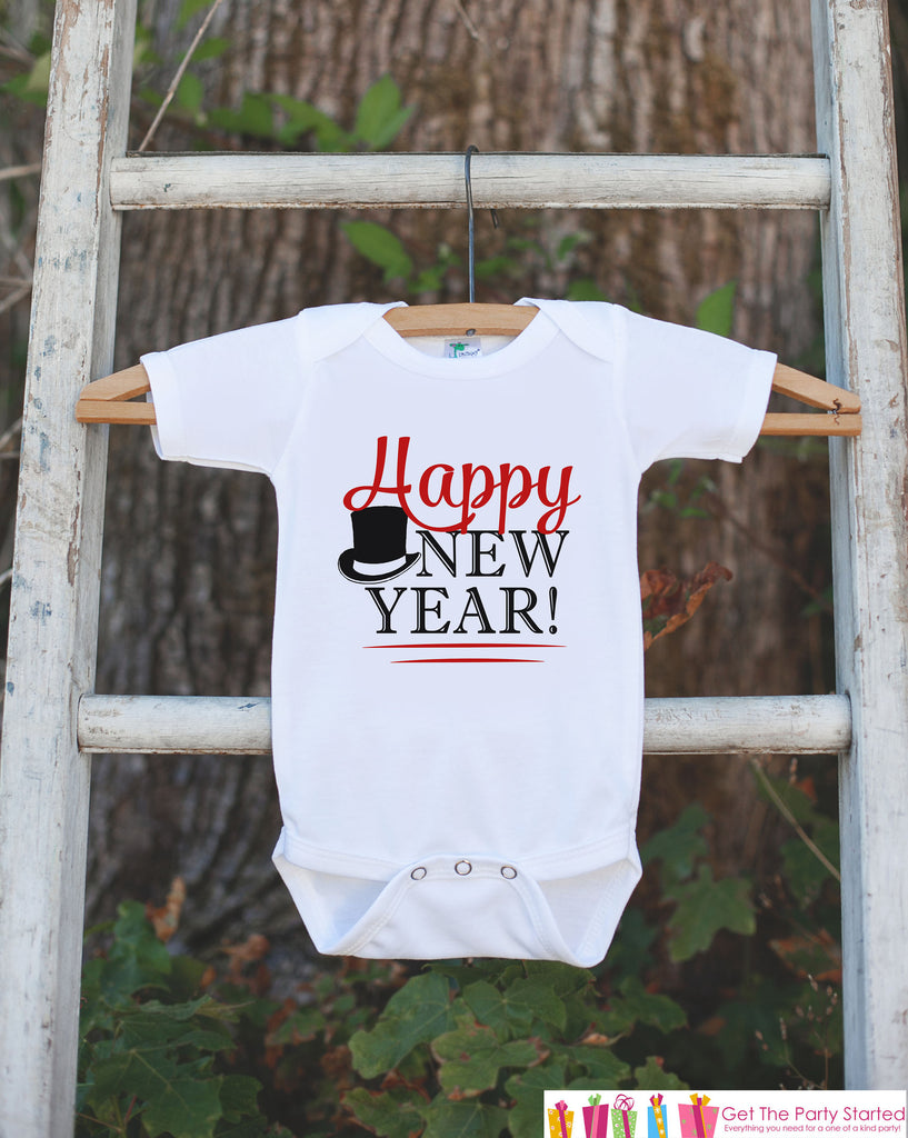 Happy New Year Outfit - Kids Happy New Years Eve Onepiece or T-shirt - Kids New Years Eve Shirt - Boys New Year Outfit - Red Tophat