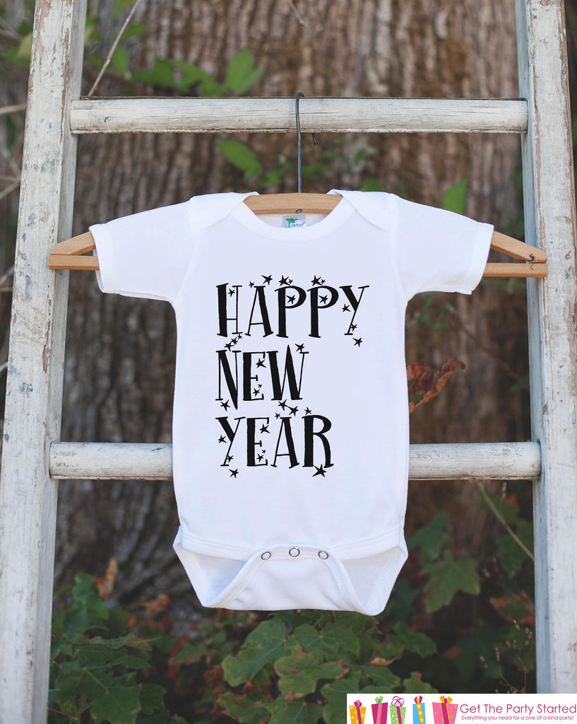 Kids New Year Outfit - Happy New Year - Boy or Girl's New Years Eve Onepiece or T-shirt - Happy New Years - Baby, Toddler, Youth - Stars