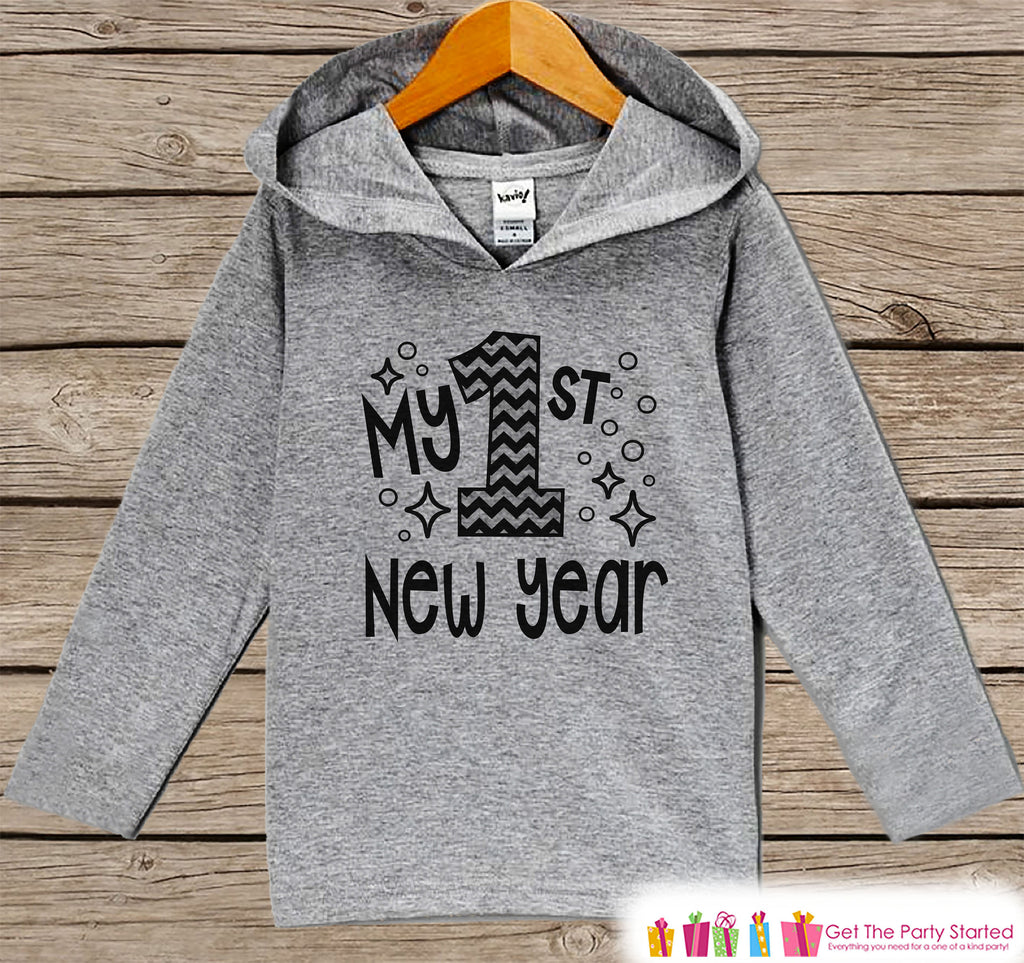 1st New Years Shirts - My 1st New Year Outfit - Boy or Girl Happy New Years Eve Outfit - Baby, Infant New Year's Eve Party Hoodie Pullover