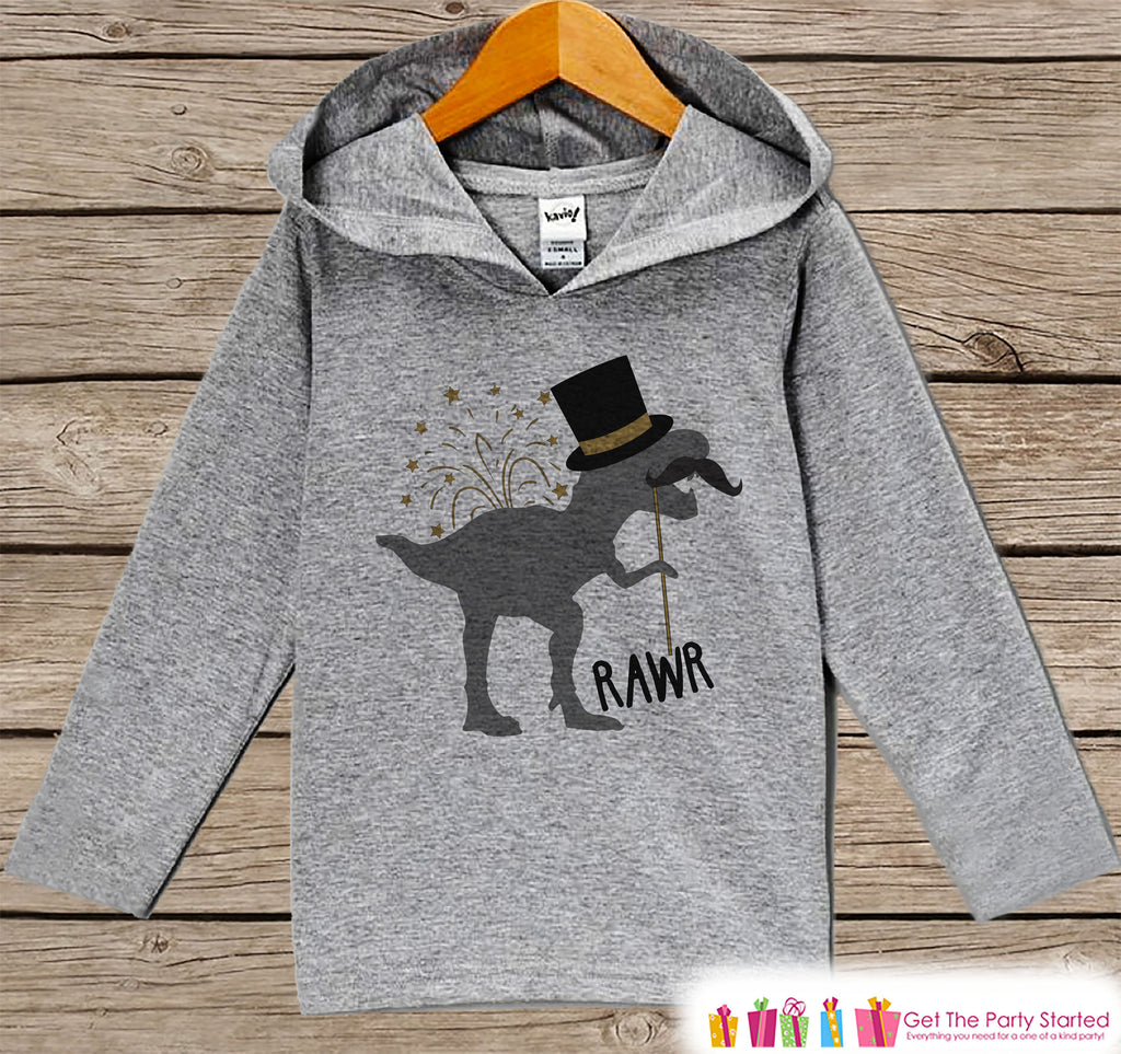 Kid's New Years Shirts - Dino New Year Outfit - Boy or Girl Dinosaur Happy New Years Eve Outfit - Baby, Toddler New Year's Eve Party Hoodie