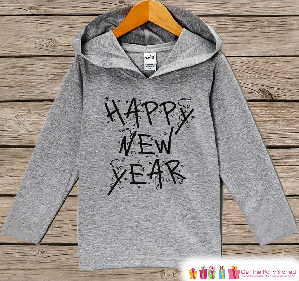 Kid's New Years Shirts - Happy New Year - Boy or Girl Happy New Years Eve Outfit - Baby, Toddler New Year's Eve Party Hoodie - Confetti
