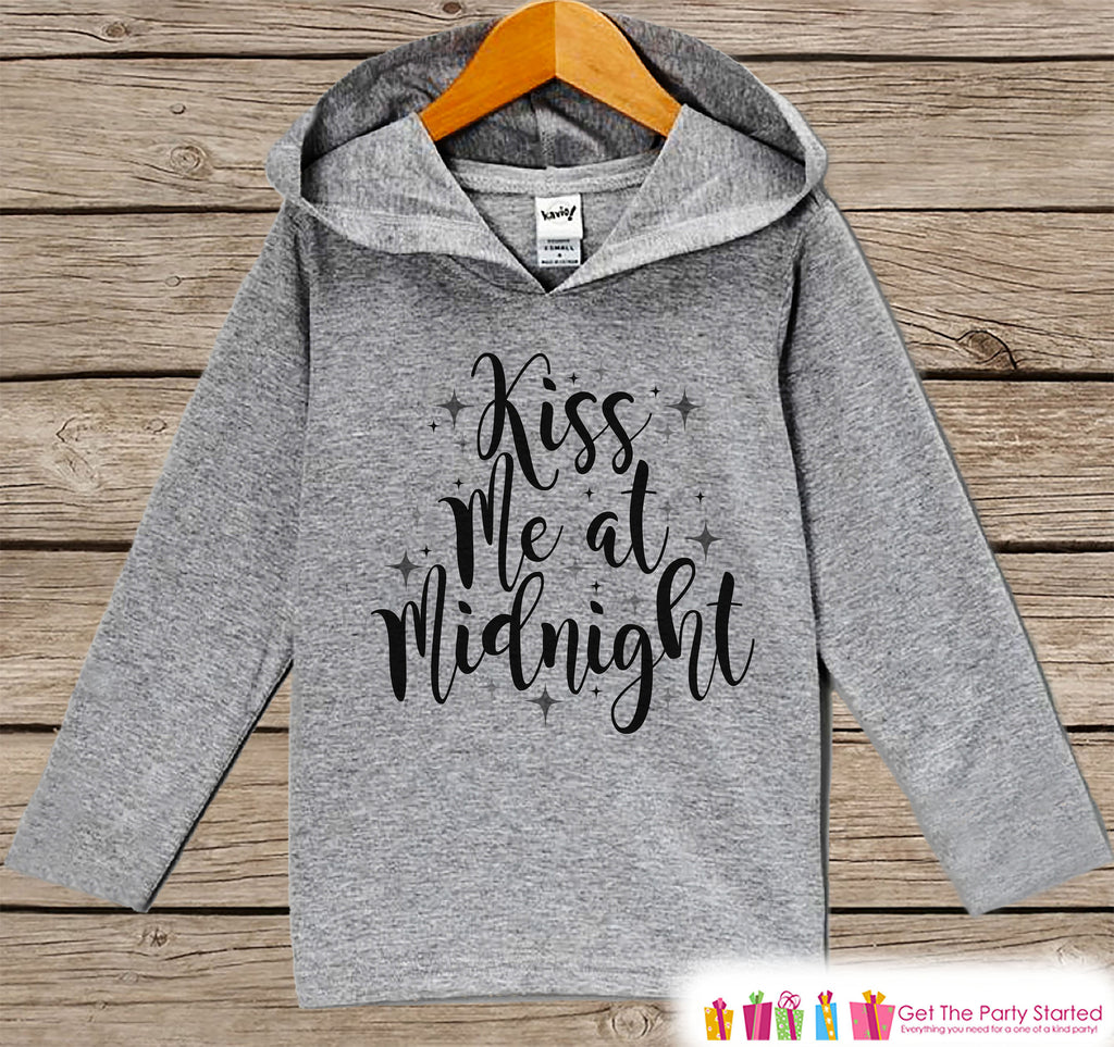 Kid's New Years Shirts - Kiss Me at Midnight - Boy or Girl Happy New Years Eve Outfit - Baby, Toddler New Year's Eve Party Hoodie - Script