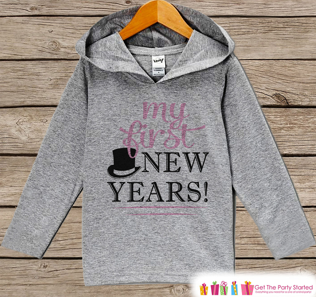 My First New Years Outfit - Girls Happy New Years Shirt - Kids Pullover - Baby's 1st New Year's Outfit - Hoodie for Baby or Toddler Girls