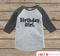 Girls Birthday Outfit - Birthday Girl Shirt or Onepiece - Youth, Toddler Birthday Outfit - Grey Baseball Tee - Kids Baseball Tee - Sketch