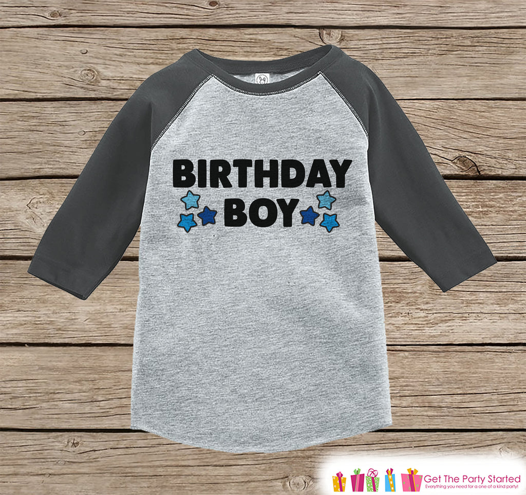 Boys Birthday Outfit - Birthday Boy Shirt or Onepiece - Youth, Toddler, Baby Birthday Outfit - Grey Baseball Tee - Kids Baseball Tee - Stars