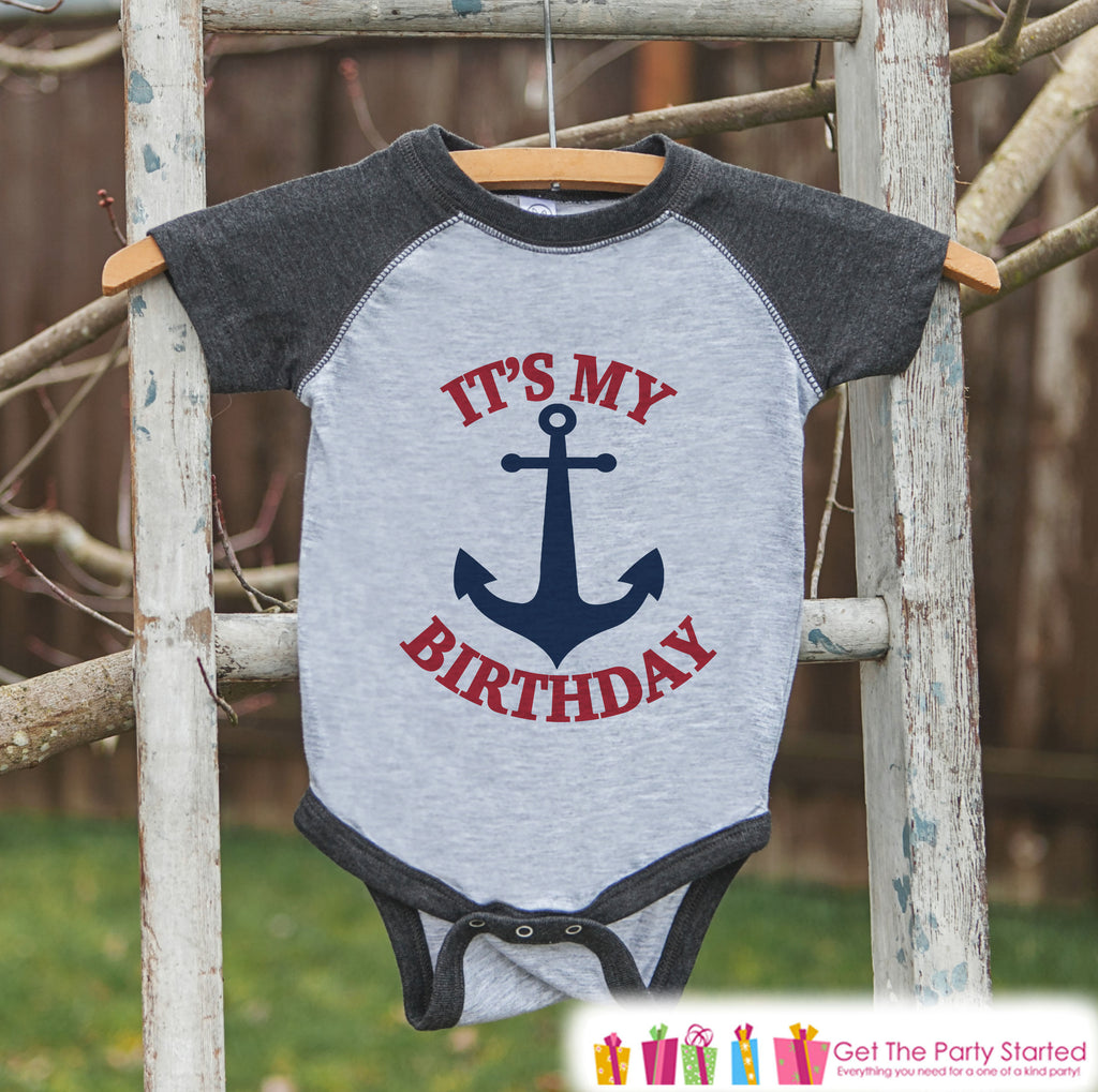 Kids Birthday Shirt - Nautical It's My Birthday Shirt or Onepiece - Boy or Girl, Youth, Toddler, Birthday Outfit - Grey Baseball Tee