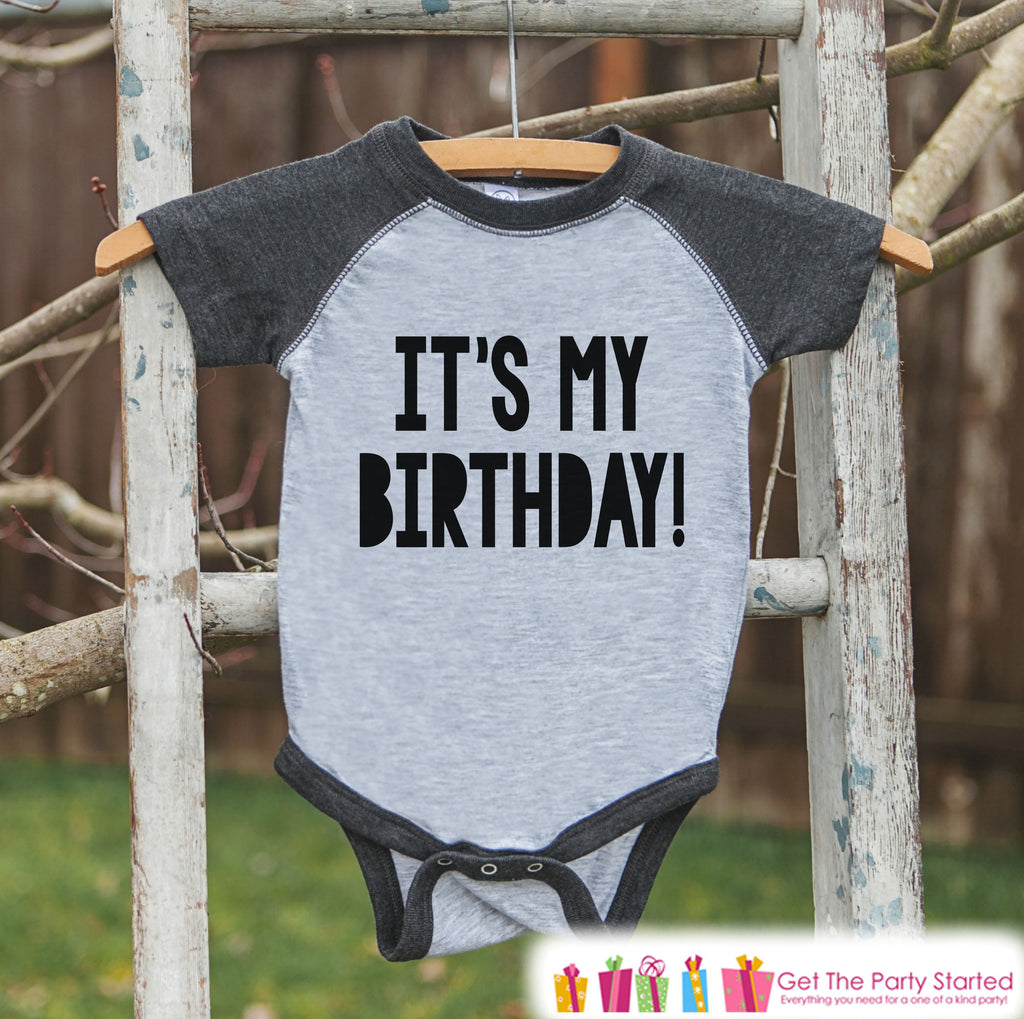 Kids Birthday Shirt - It's My Birthday Shirt or Onepiece - Baby Boy or Girl, Youth, Toddler, Birthday Outfit - Grey Baseball Tee - Bold