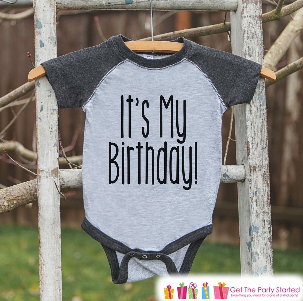 Kids Birthday Shirt - It's My Birthday Shirt or Onepiece - Baby Boy or Girl, Youth, Toddler, Birthday Outfit - Grey Baseball Tee