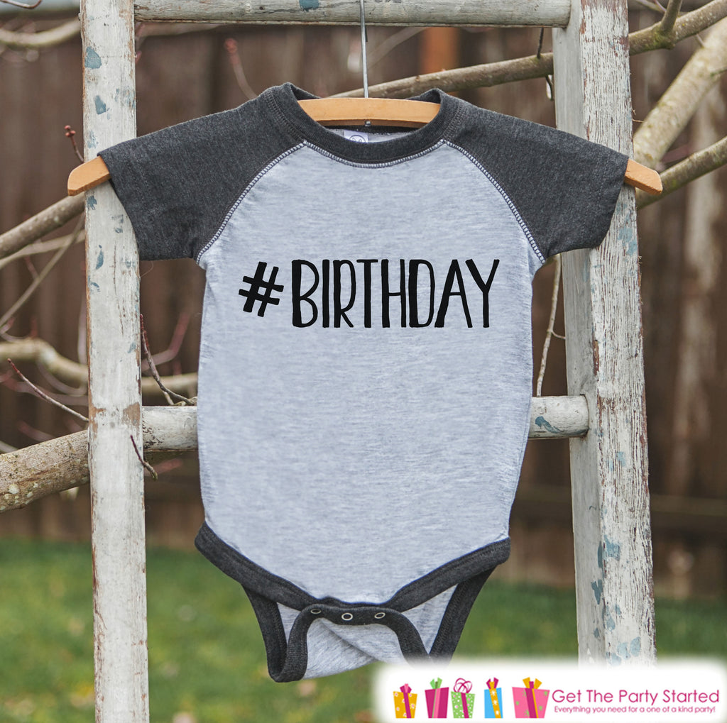Kids Birthday Shirt - Hashtag Birthday Shirt or Onepiece - Baby Boy or Girl, Youth, Toddler, Birthday Outfit - Grey Baseball Tee - #Birthday