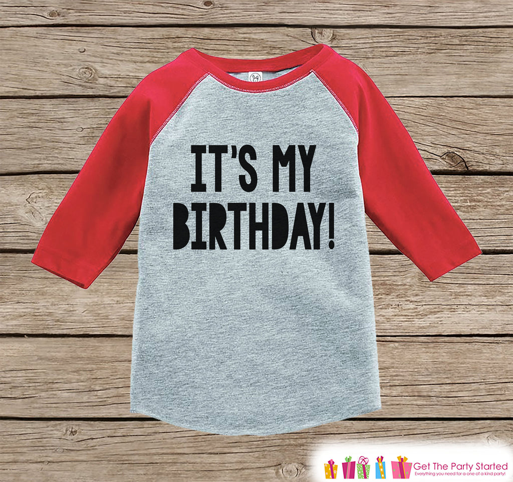 Kids Birthday Shirt - It's My Birthday Shirt or Onepiece - Baby Boy or Girl, Youth, Toddler, Birthday Outfit - Red Baseball Tee - Bold