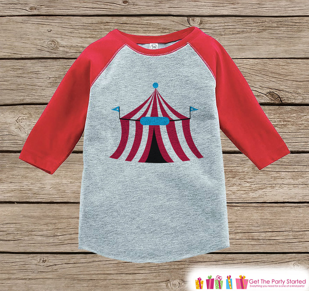 Circus Birthday Outfit - Kids Circus Tent Shirt or Onepiece - Boy or Girl, Youth, Toddler, Birthday Outfit - Red Baseball Tee - Carnival
