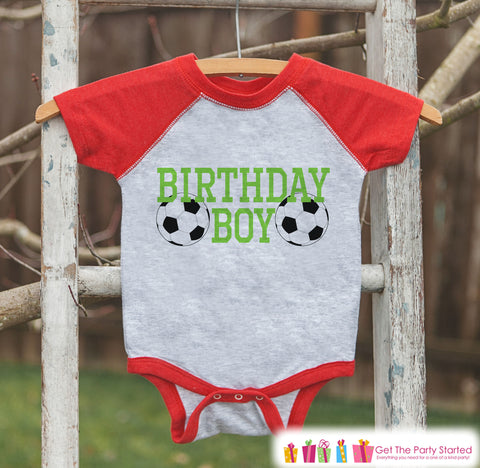 Boys Birthday Outfit - Soccer Birthday Boy Shirt or Onepiece - Youth, Toddler, Baby Birthday Outfit - Red Baseball Tee - Kids Baseball Tee