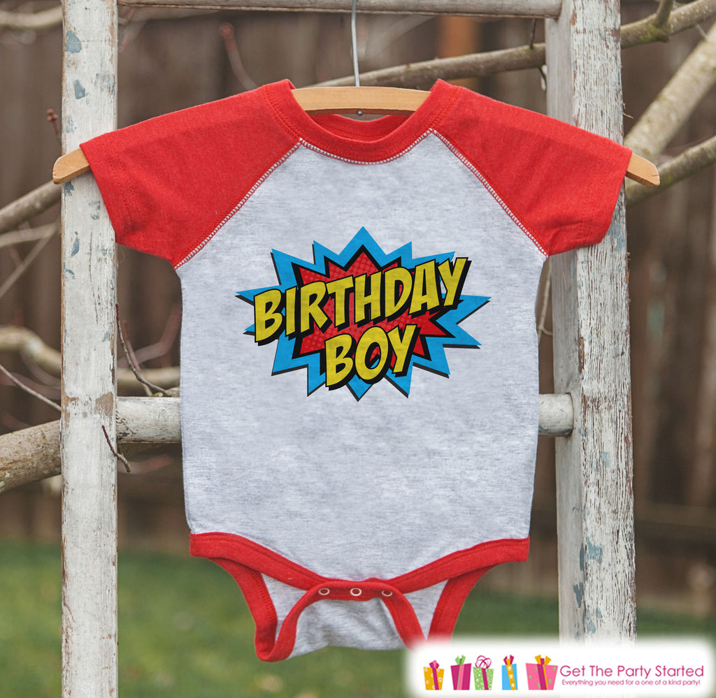 Boys Birthday Outfit - Superhero Birthday Boy Shirt or Onepiece - Youth, Toddler, Baby Birthday Outfit - Red Raglan - Kids Baseball Tee 1