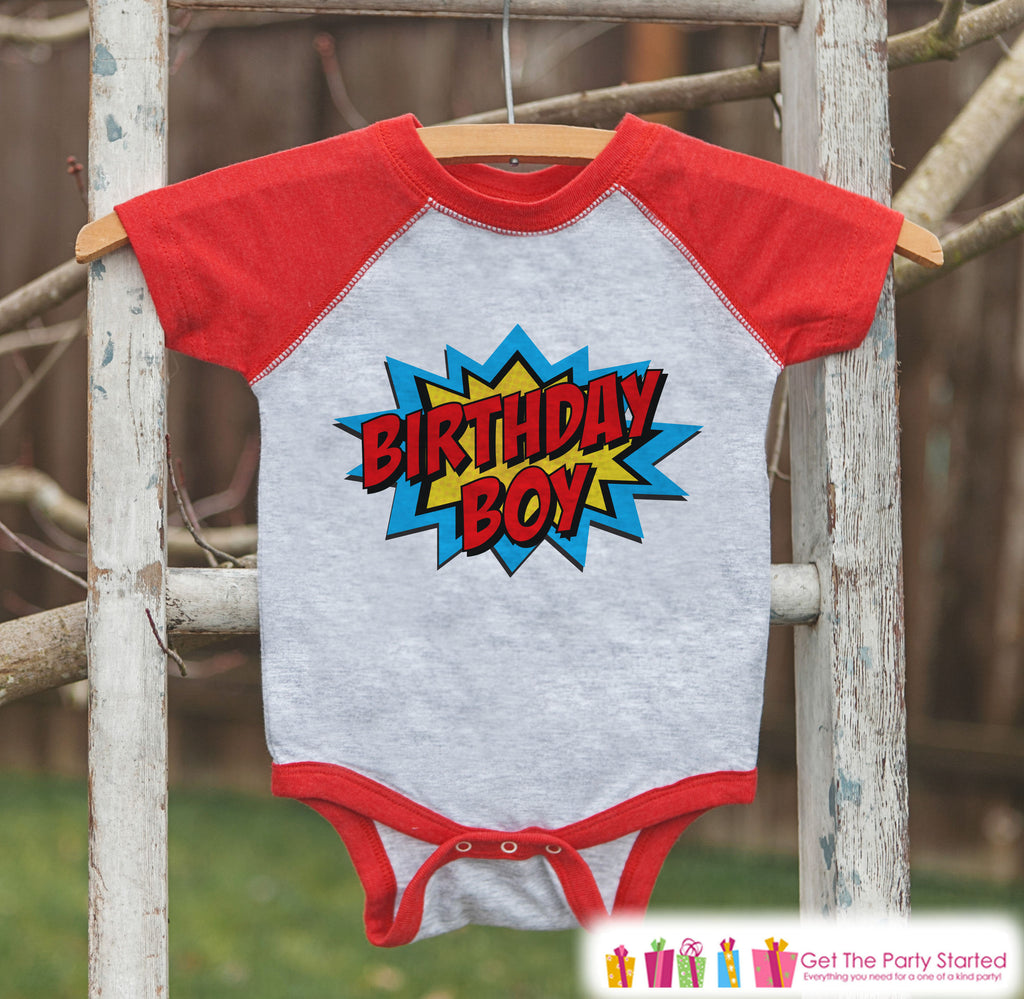 Boys Birthday Outfit - Superhero Birthday Boy Shirt or Onepiece - Youth, Toddler, Baby Birthday Outfit - Red Raglan - Kids Baseball Tee 2