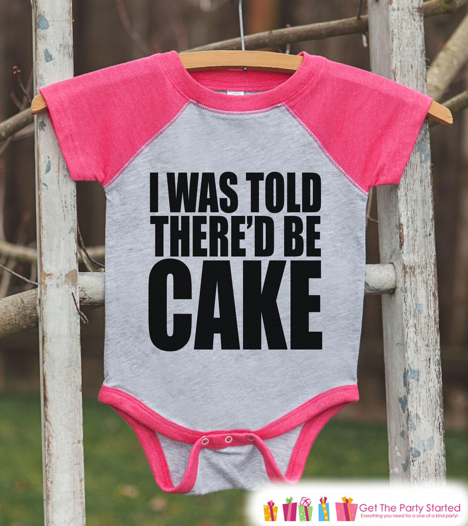 Kids Funny Birthday Shirt - I Was Told There'd Be Cake Birthday Shirt or Onepiece - Baby Girl, Youth, Toddler, Birthday Outfit - Pink Raglan