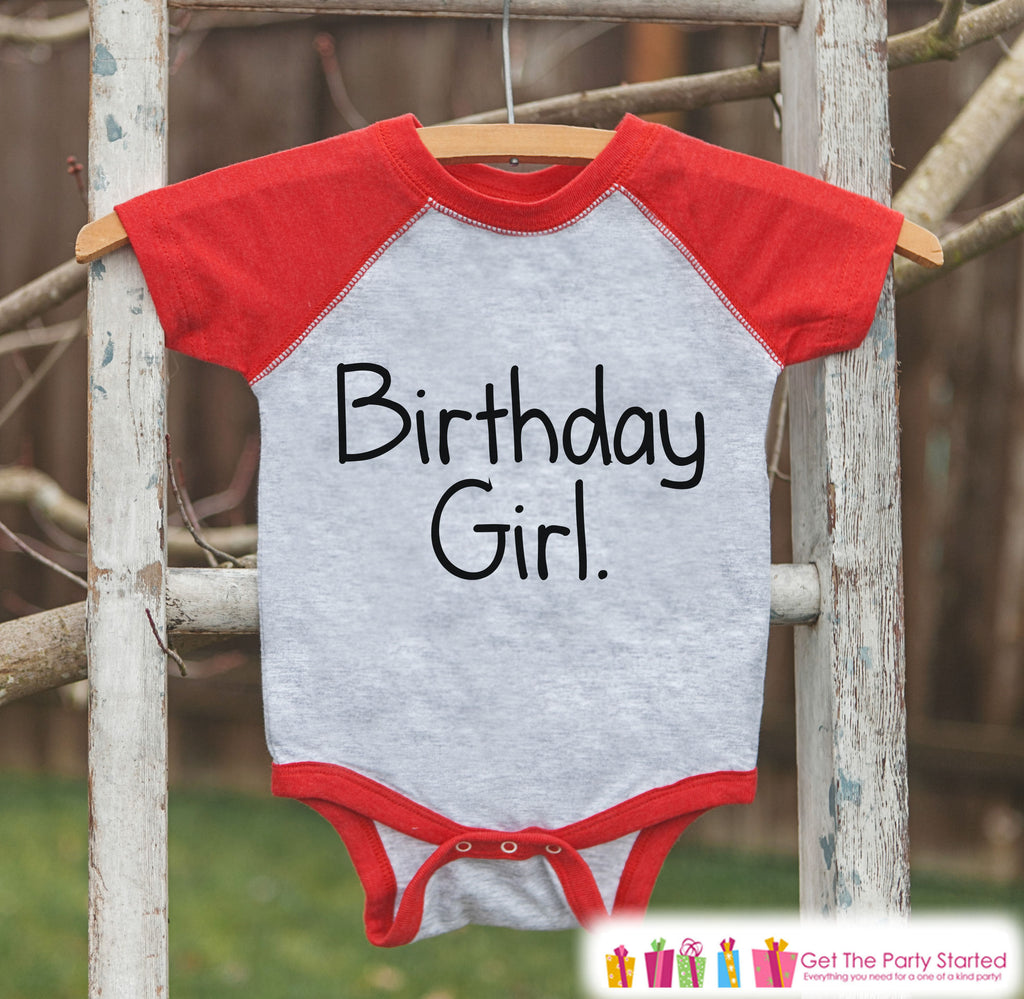 Girls Birthday Outfit - Birthday Girl Shirt or Onepiece - Youth, Toddler Birthday Outfit - Red Baseball Tee - Kids Baseball Tee - Simple