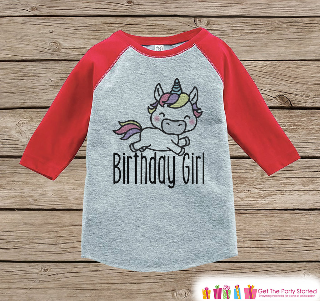 Girls Birthday Outfit - Unicorn Birthday Girl Shirt or Onepiece - Birthday Girl Unicorn Outfit - Red Baseball Tee - Kids Raglan Shirt
