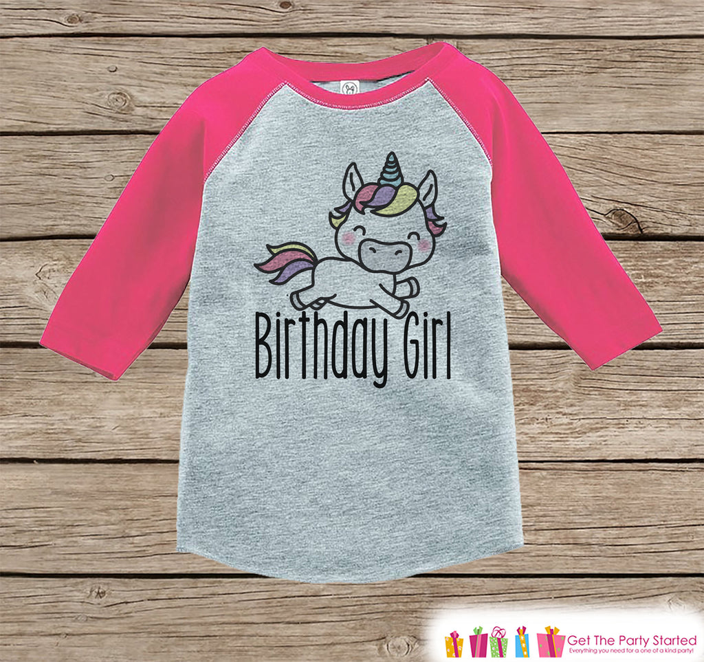 Girls Birthday Outfit - Unicorn Birthday Girl Shirt or Onepiece - Birthday Girl Unicorn Outfit - Pink Baseball Tee - Kids Raglan Shirt
