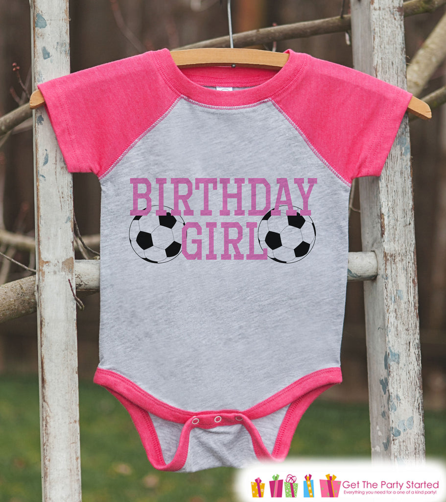 Girls Birthday Outfit - Soccer Birthday Girl Shirt or Onepiece - Birthday Girl Sports Outfit - Pink Baseball Tee - Kids Raglan Shirt