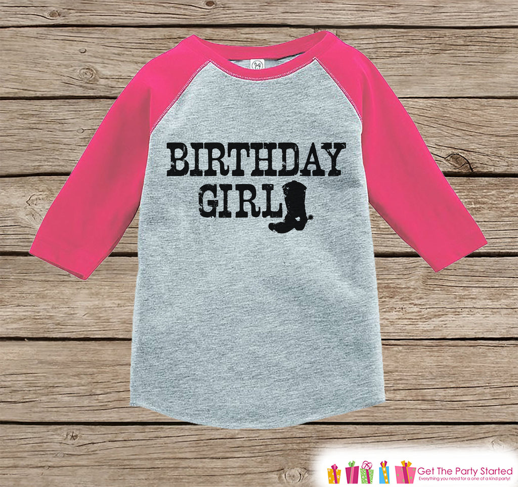 Girls Birthday Outfit - Cowgirl Birthday Girl Birthday Shirt or Onepiece - Western Birthday Outfit - Pink Baseball Tee - Kids Raglan Shirt