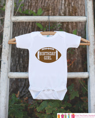 Kids Birthday Shirt - Football Birthday Girl Shirt - Birthday Shirts for Girls - Happy Birthday Shirt or Onepiece - Birthday Girl Outfit