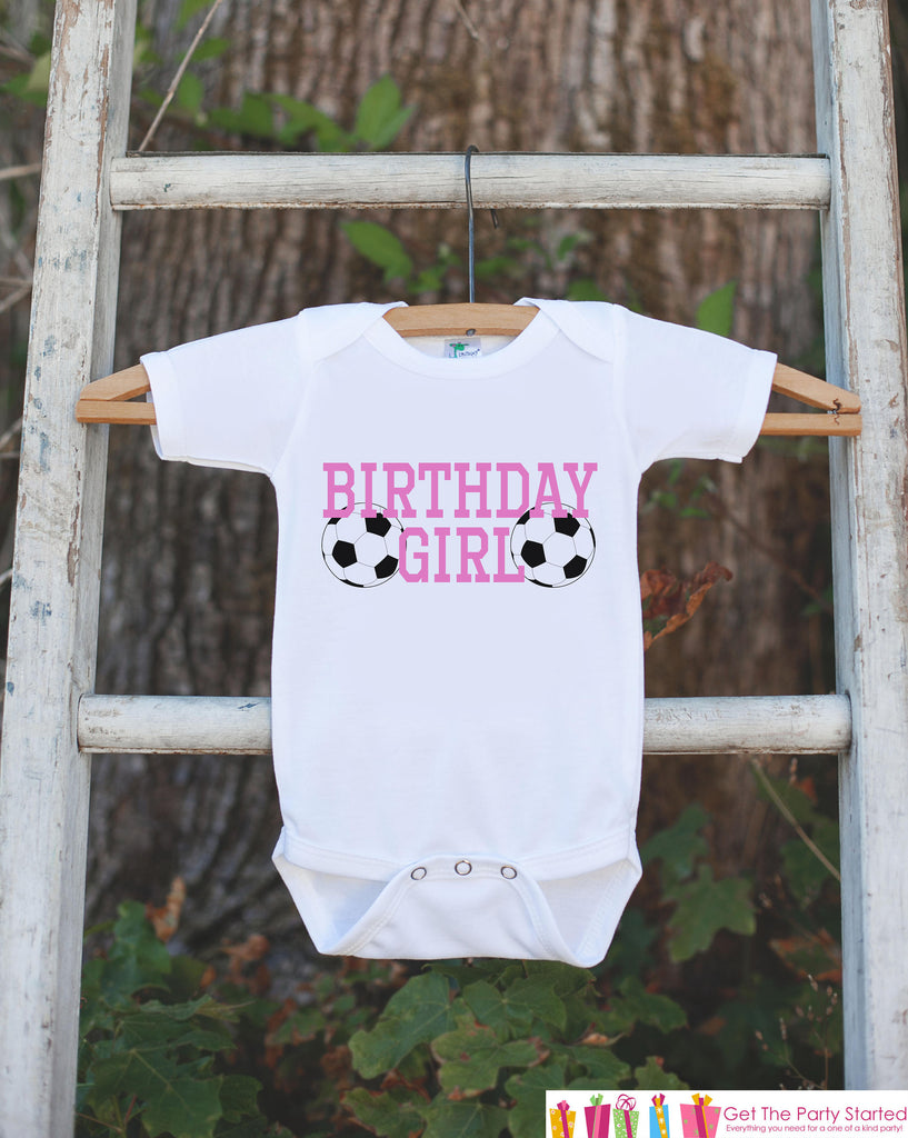 Kids Birthday Shirt - Soccer Birthday Girl Shirt - Birthday Shirts for Girls - Happy Birthday Shirt or Onepiece - Birthday Girl Outfit