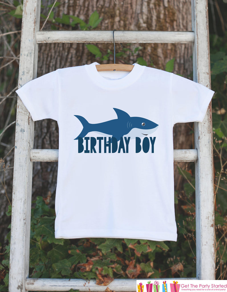 Kids Birthday Shirt - Shark Birthday Boy Shirt - Birthday Shirts for Boys - Boy Happy Birthday Shirt or Onepiece - Birthday Boy Outfit