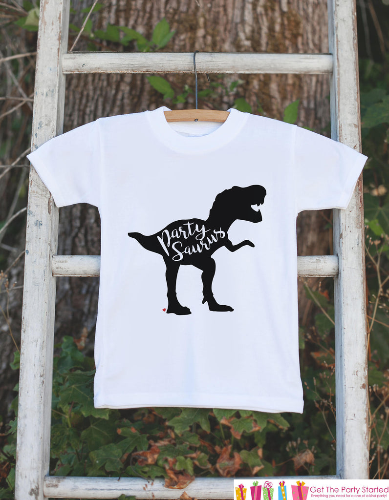 Dinosaur Birthday Shirt - Dino Partysaurus Birthday Shirt - Birthday Shirts for Boys or Girls - Birthday Shirt or Onepiece - Party Outfit