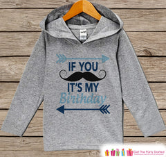 Boys Birthday Shirt - Mustache Birthday Boy Hoodie - Boys Birthday Pullover - Happy Birthday - Little Man Birthday - Birthday Shirt for Boys