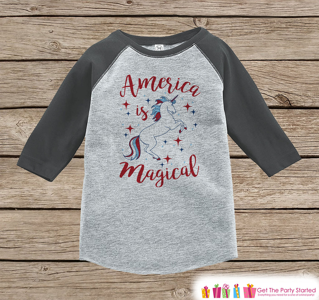 Kids Unicorn Shirt - America is Magical - 4th of July Boy or Girl Onepiece or T-shirt - Unicorn Shirt - Kids, Toddler, Youth Grey Raglan