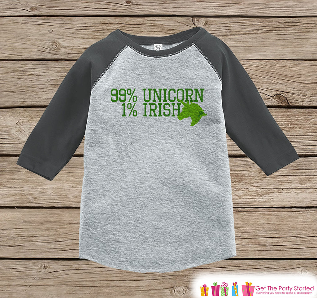 Kids Unicorn Shirt - Irish Unicorn - 99% Unicorn - St. Patricks Day Boys or Girls Onepiece or Tshirt - Kids, Toddler, Youth Grey Raglan